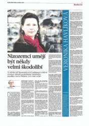 Interview in het nationale dagblad MF Dnes
